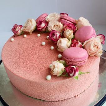 Мусовый торт розовый велюр, Торты на заказ